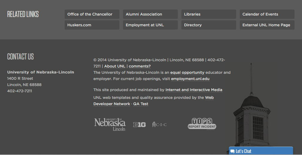 The UNL website page footer from UNL Today, the internal UNL homepage