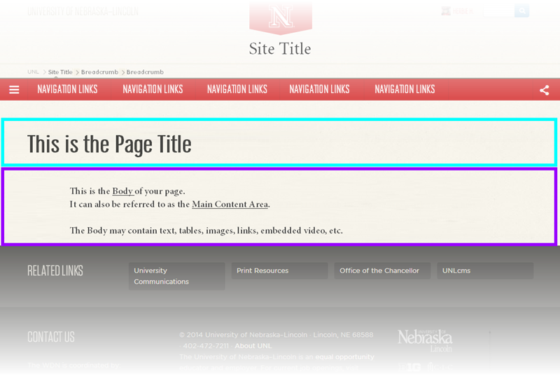 View of the Page Title and Main Content area on a webpage