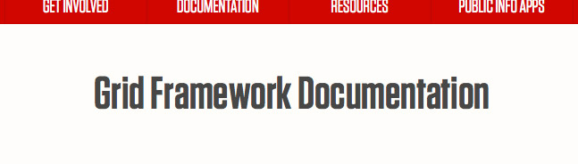 The UNL website page title, with example Grid Framework Documentation' shown