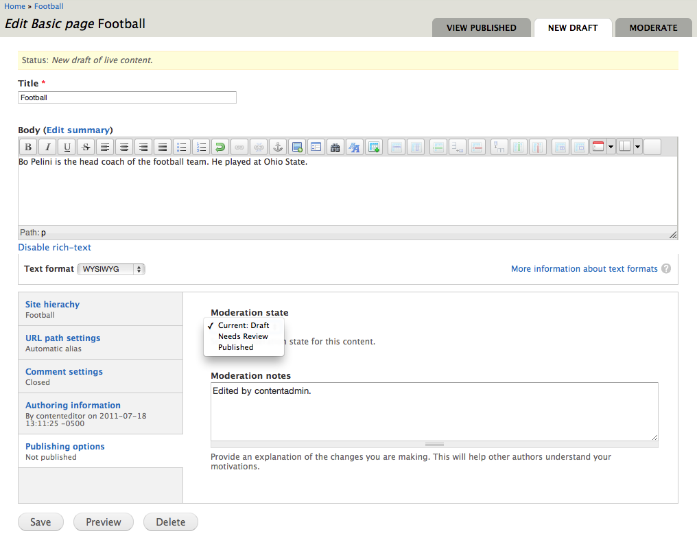 screen shot of the edit content page with published as a moderation option